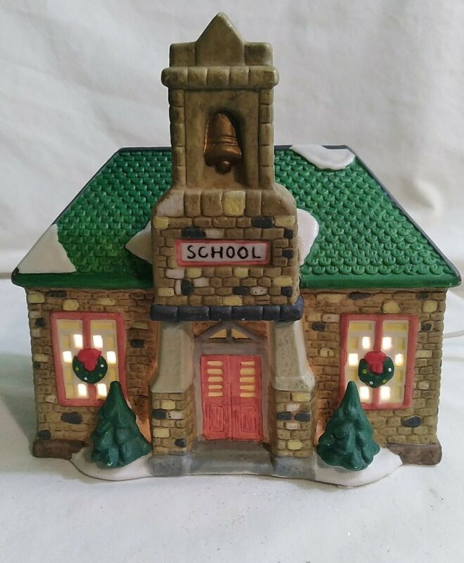 HOLIDAY EXPRESSIONS PORCELAIN LIGHTED SCHOOL HOUSE CHRISTMAS VILLAGE