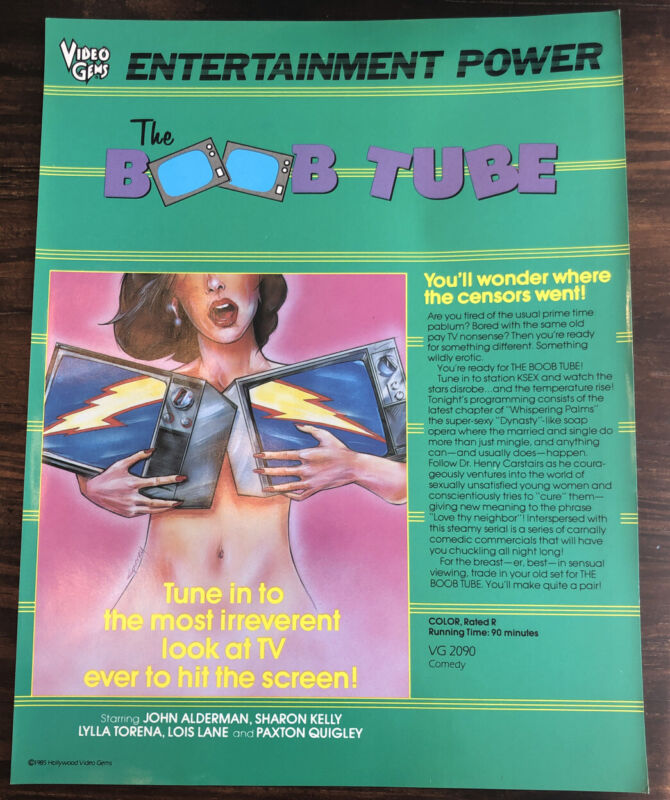 Video Store Advertisement 'The Boob Tube' Vintage VHS Movie Slick Poster