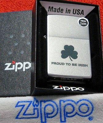 ZIPPO SHAMROCK Lighter PROUD TO BE IRISH 2017 Mint In Box GREEN on SATIN