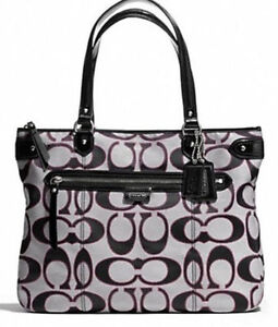 NEW Coach Daisy Outline Signature Black Grey Tote Handbag Shoulder Purse F29302