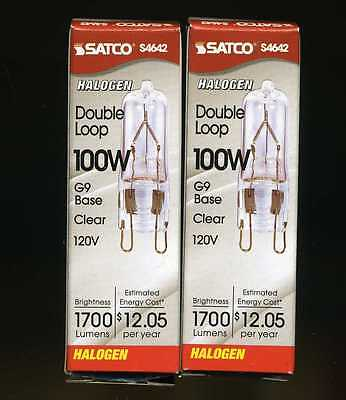 120v 100w Lamp - (2) Satco S4642 100W Clear Halogen Lamp 120Volt G9 Double Loop 100WT4/CL/G9/120V