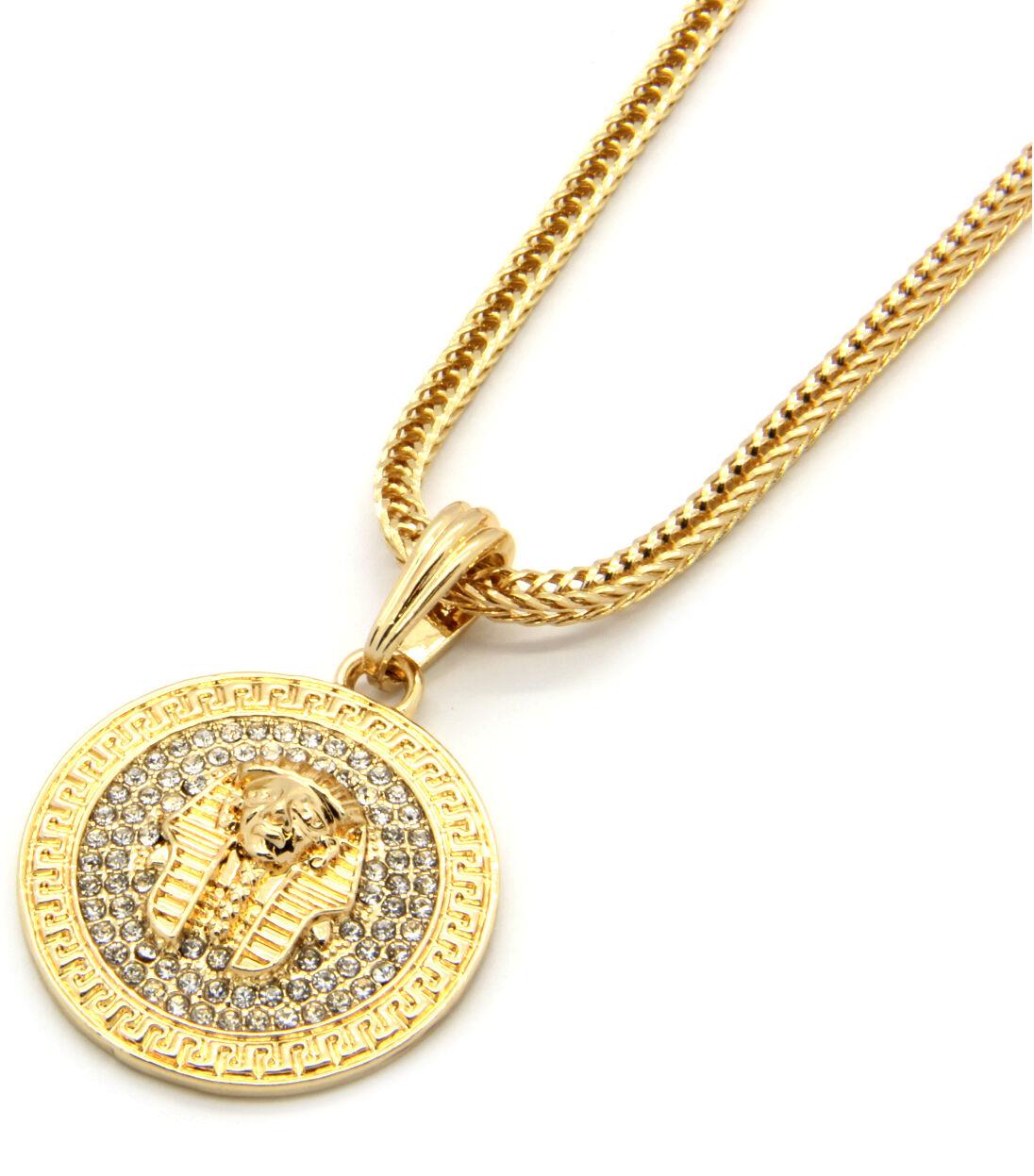 "Mens Medallion Pharaoh Gold Clear 24"" Franco Chain Pendant ..."