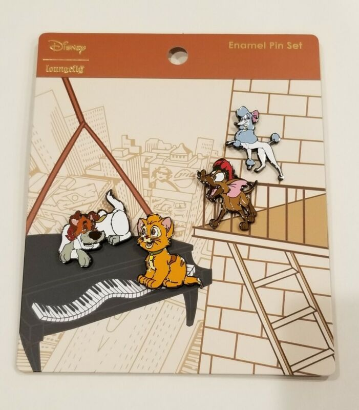 Loungefly Disney Oliver And Company 4 Piece Enamel Pin Set NEW