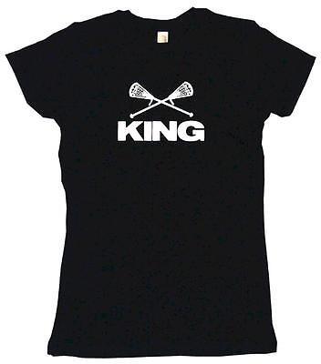 (Crossed Lacrosse Sticks King Womens Tee Shirt Pick Size Color Petite Regular)