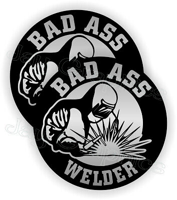Bad Ass Welder Funny Hard Hat Stickers Welding Helmet Decals Mig Tig Weld Slv