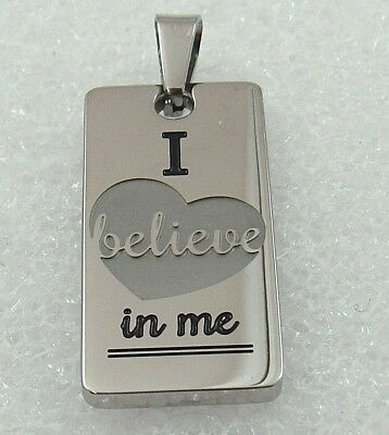 Believe Pendant Necklace Inspirational Affirmation Stainless Steel Silver 19-21""