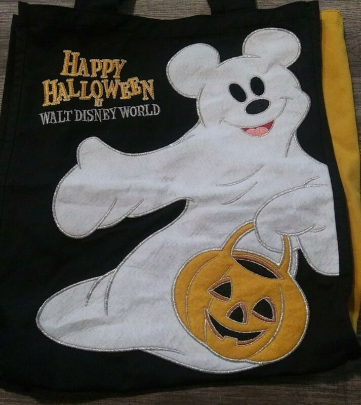 Walt Disney World Parks Happy Halloween Mickey Mouse Ghost Canvas Treat Tote Bag