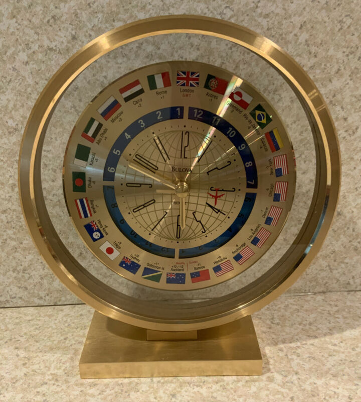 Vintage Bulova Quartz World Time Quartz Desk Clock 1970s Japan Jetliner Flags