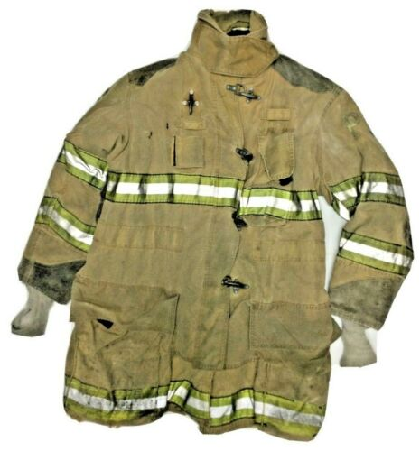 50x35 Globe Firefighter Brown Turnout Jacket Coat with Yellow Tape J886