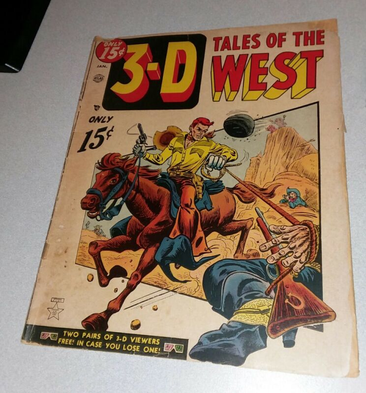 3-D Tales of the West #1 atlas comics 1954 Golden Age Western black rider key 8