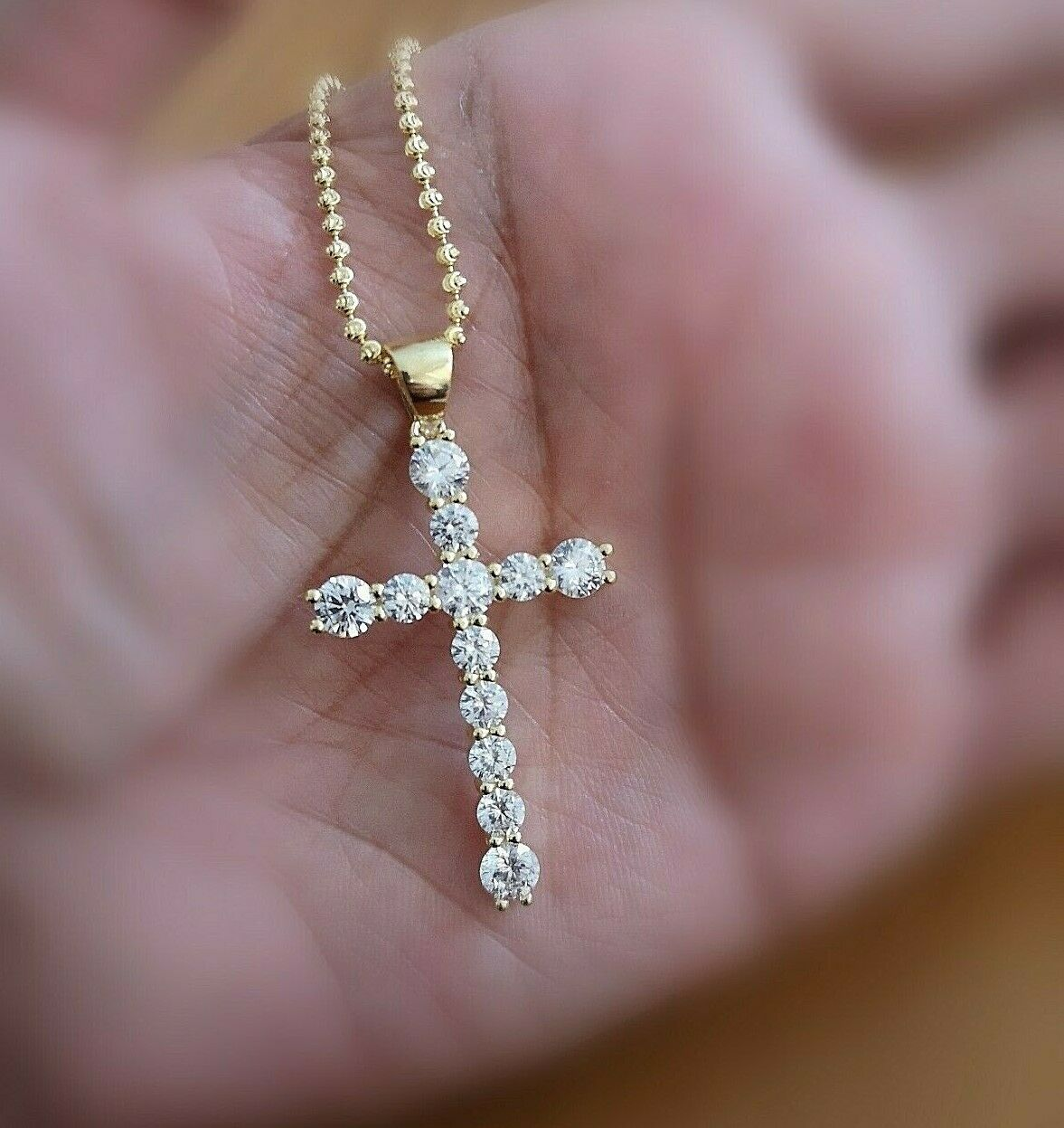 5Ct Diamond Cross Pendant Necklace with Chain 14K Yellow Gold over Women's Men's