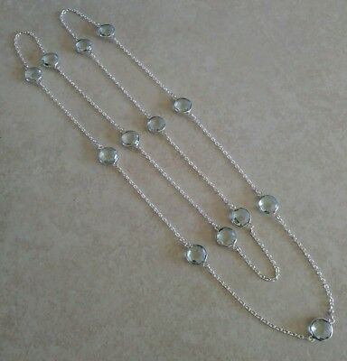 NATURAL ROUND BLUE TOPAZ 925 STERLING SILVER LONG CHAIN NECKLACE 36