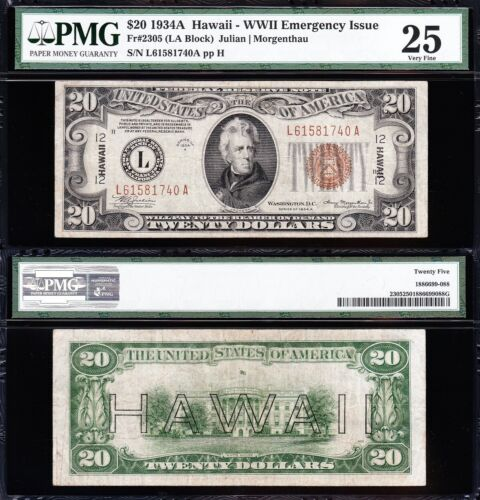 VERY NICE Bold & Crisp VF+ 1934 A $20 HAWAII Fed Reserve Note! PMG 25! L61581740