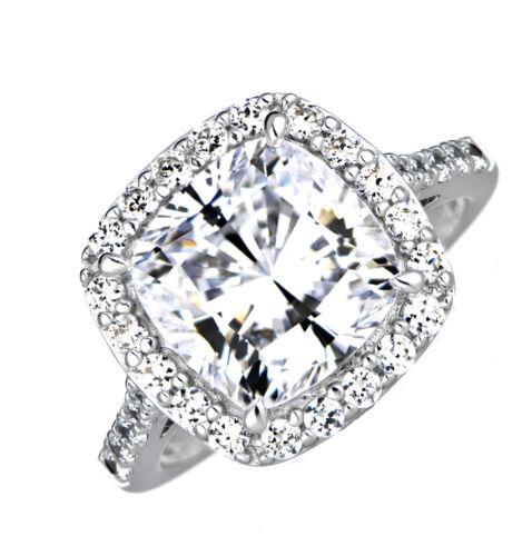 3.51 Carat GIA Certified 18k White Gold Cushion Cut Diamond Engagement Ring