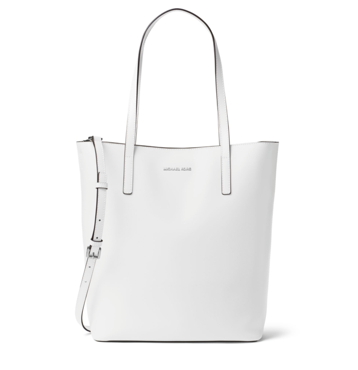 Michael Kors Emry Large Convertible Optic White Leather Tote Bag