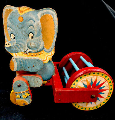 Fisher Price 755 Antique Jumbo Rolo Wooden Pull Toy Circa 1951
