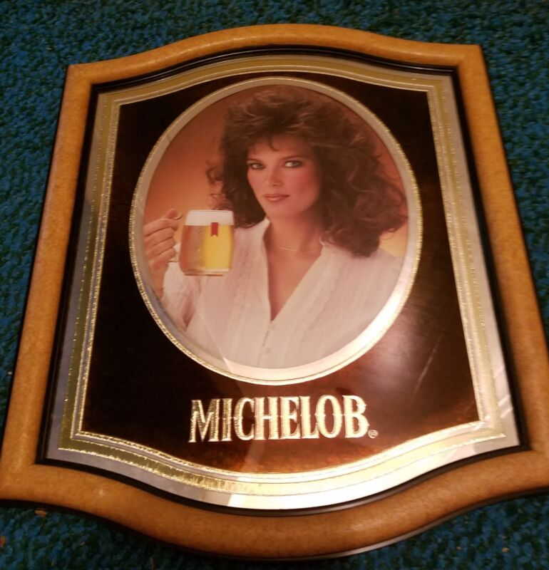 Vintage 1983 Michelob girl sign- Brown hair blue eyes..