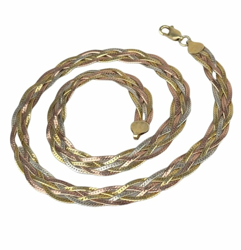 """Beautiful Vtg Sterling 925 Multi Tone Woven Strand Italy 18"""" Necklace"""
