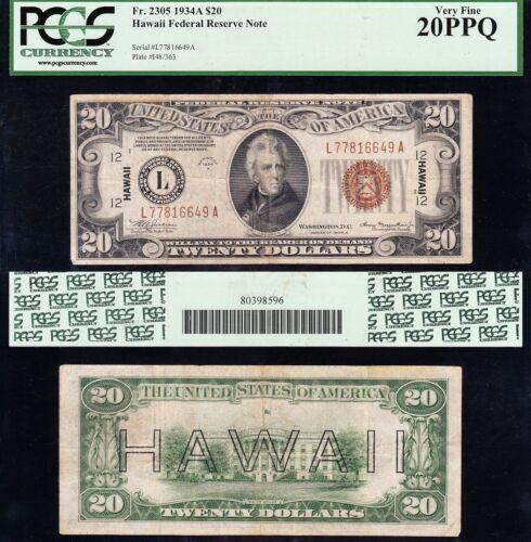 VERY NICE Bold & Crisp VF 1934 A $20 HAWAII Fed Reserve Note! PCGS 20 PPQ! 16649
