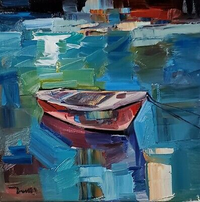 JOSE TRUJILLO Impressionism OIL PAINTING BOAT COLLECTIBLE FINE ART SIGNED NR