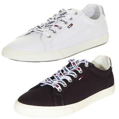 Casual Schuhe Jeans (Tommy Jeans Damen Sneaker Casual Schuhe Weiß / Midnight Gr. 36 37 38 39 40 41)