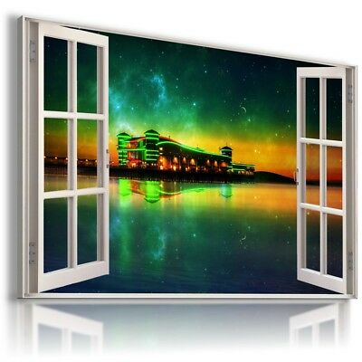 BEACH OCEAN SEA PIER 3D Window Canvas Wall Art W199 MATAGA NO FRAME-ROLLED
