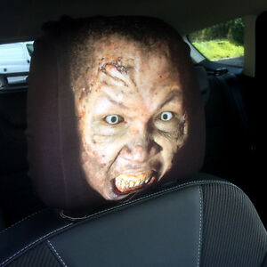Zombie Face Design Car Seat Head Rest Covers Pack Of 2