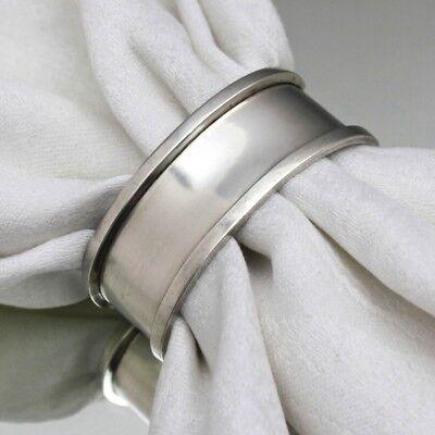 Silber des Art Déco: Serviettenring aus Silber oval Ring Stream Line ohne Gravur