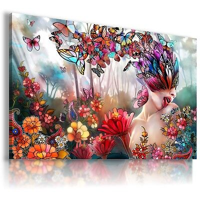LADY SUMMER ABSTRACT BUTTERFLY Canvas Wall Art Abstract Picture  AB333  MATAGA