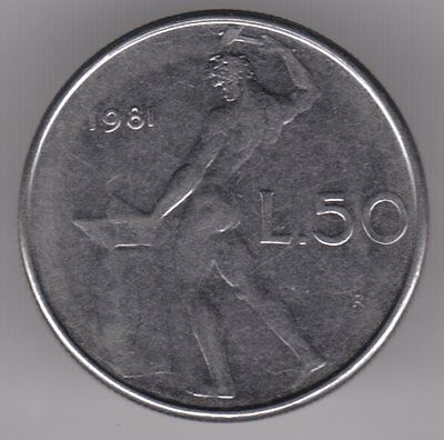 Italy 1981 50 Lire Stainless Steel Coin - Vulcan at the Anvil