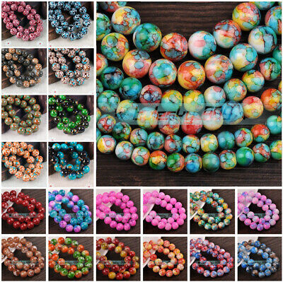Bulk Wholesale 6mm/8mm/10mm/12mm Charms Round Glass Loose Spacer Beads -