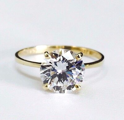 14K YELLOW GOLD CLASSIC/SIMPLE SOLITAIRE ENGAGEMENT RING WITH CUBIC ZIRCONIA 8mm