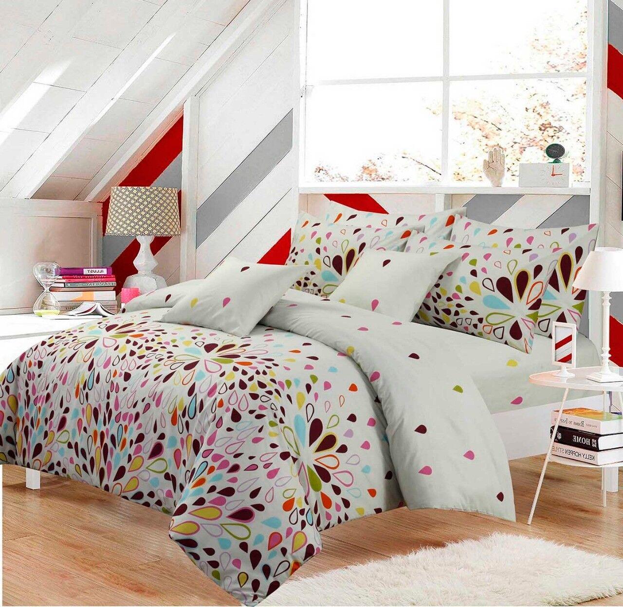 Duvet Quilt Cover Reversible Camila Design Polycotton Bedding Single Double King