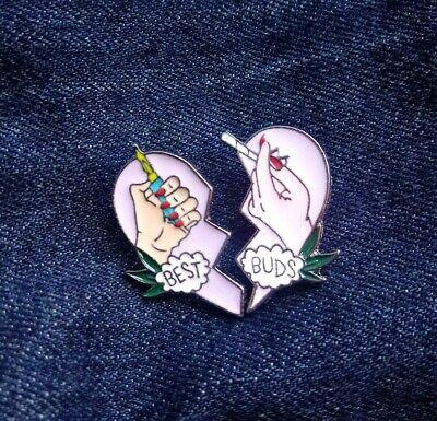 Best Buds marijuana cannabis leaf 2-pack Pin badge brooch metal enamel US