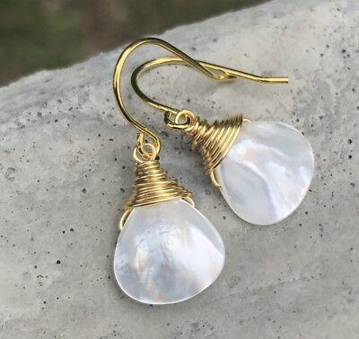 (Min Favorit Mother Of Pearl Briolette & Gold Pl Wire Wrap Artisan Earrings)