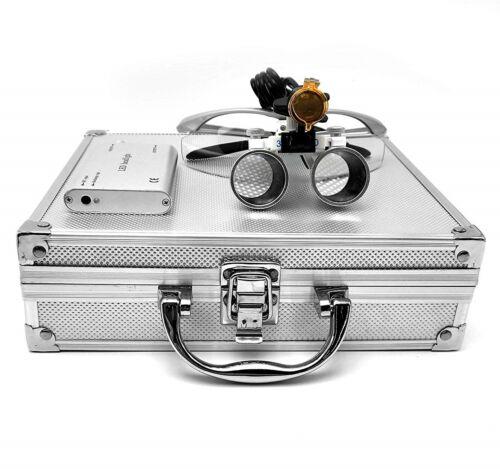Dental 3.5X Binocular Loupes + 3W LED Headlight w/ Filter + Aluminum Box Silver