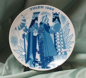 Porsgrund Porcelain Julen 1969 Christmas Plate Three Wise Men Blue White Norway