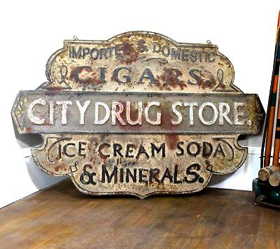 Big Pressed Tin Stamped Cigar - Drug Store Trade Sign Vintage Styl Soda Fountain