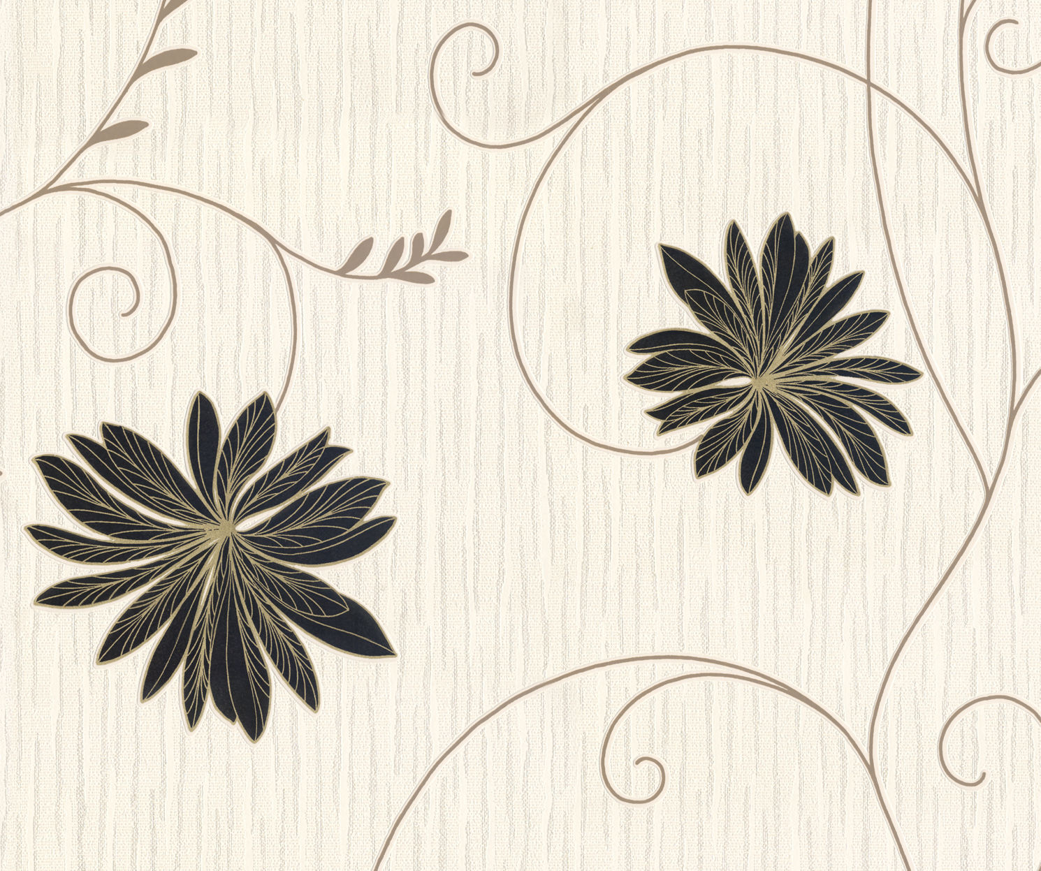 BELGRAVIA GOLD BLACK CREAM FLORAL FLOWER TEXTURED QUALITY FEATURE WALLPAPER 6153