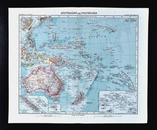 1911 Stieler Map Oceania Australia Polynesia New Zealand Hawaii South Pacific