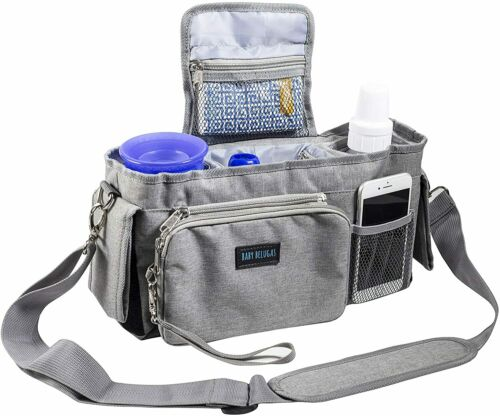 Baby Belugas Stroller Organizer Bag, Insulated Cup Holders, Detachable Strap