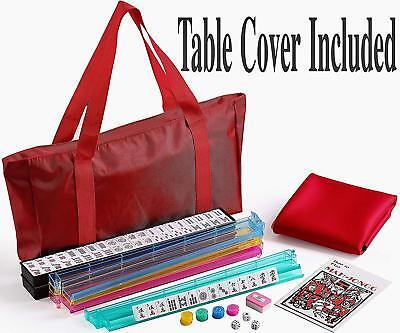 166 Tiles Red Nylon Bag wtih 4 Color Pushers Racks and Mat American Mahjong Set