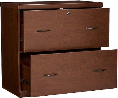 2 Drawer Lateral File Cabinet Lockable Office Furniture Rack Classic Cherry Wood