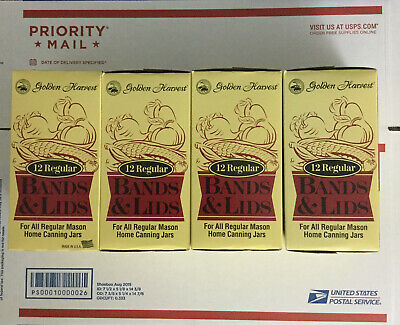 48 Golden Harvest Canning Mason Ball Jar Lids Bands Rings Regular Mouth 4 Boxes
