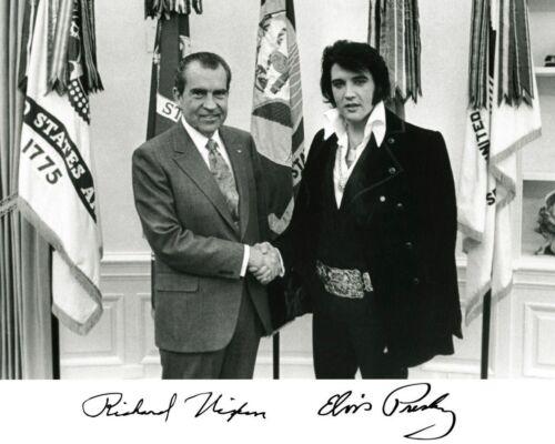 President Richard Nixon & Elvis Presley Autographed Glossy 8x10 Photo