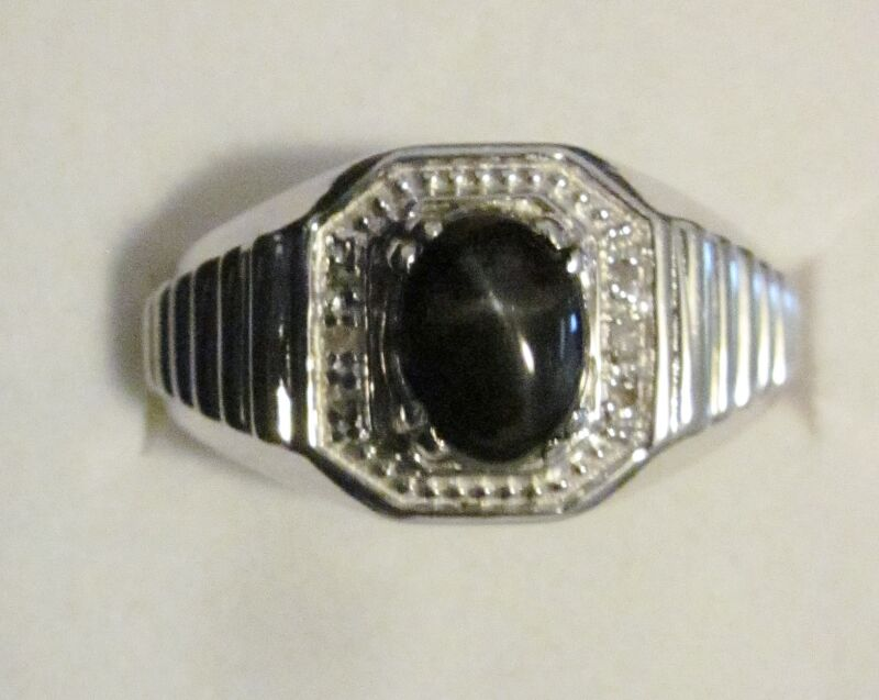 Men's Black Star Diopside & DiamondRing in Sterling Silver, sz 10.5