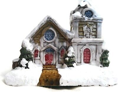 American Rustic Christmas Counrty Church RSVP Vintage Miniature Cottage w/ Box