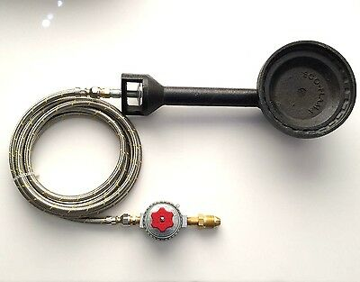 Propane Gas Burner with POL Regulator and 5ft Stainless Steel braided Hose