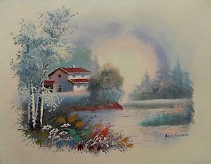 LAKE-HOUSE-Hand-Signed-Original-Canvas-Art-Oil-Painting
