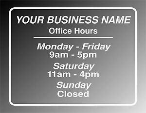 Office hours vinyl decal graphics great custom sign for any business